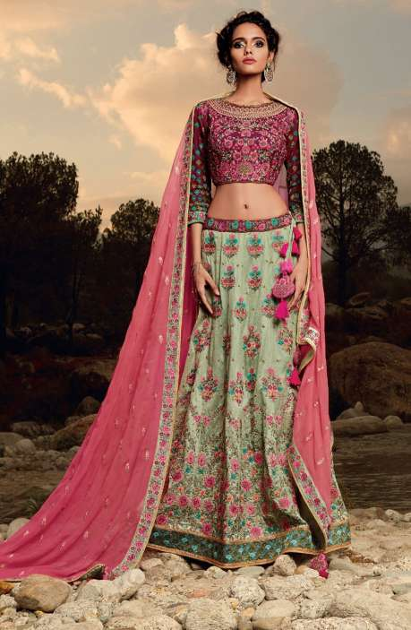 Exclusive Designer Collection Purple and Green Machine Embroidery Embellished Lehengas - WHE4828