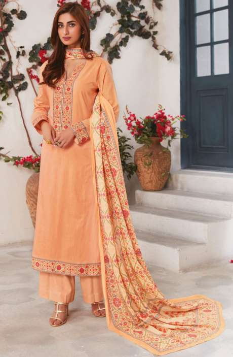 Cotton Ready-to-Stitch Salwar Kameez In Orange - WHI313