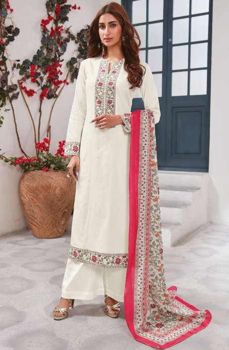 Cotton Ready-to-Stitch Salwar Kameez In Cream - WHI334