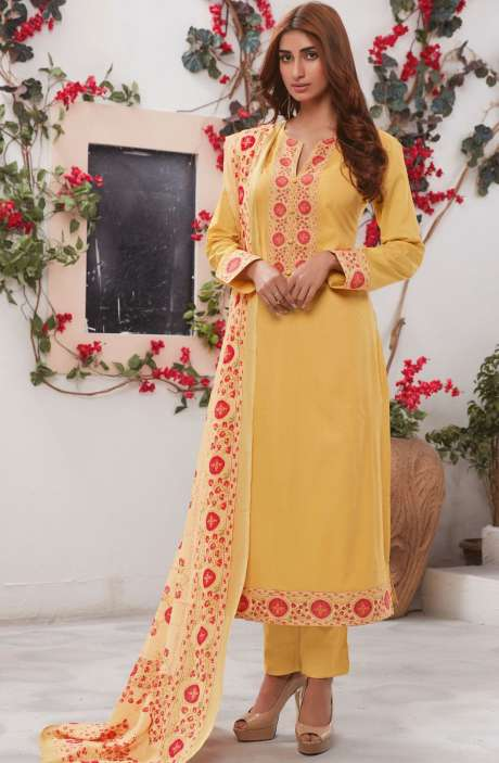 Cotton Ready-to-Stitch Salwar Kameez In Mustard Yellow - WHI351