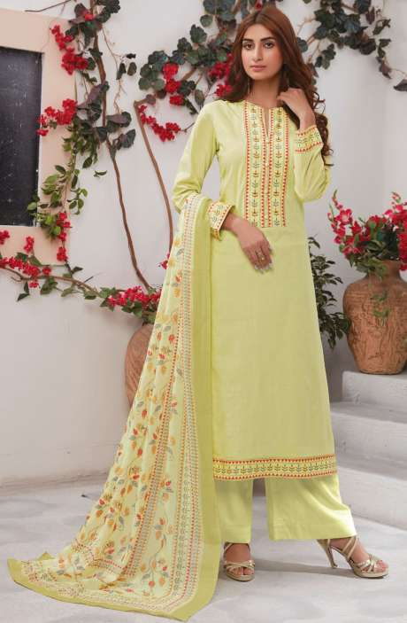 Cotton Ready-to-Stitch Salwar Kameez In Lime Green - WHI356