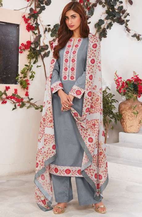 Cotton Ready-to-Stitch Salwar Kameez In Grey - WHI365