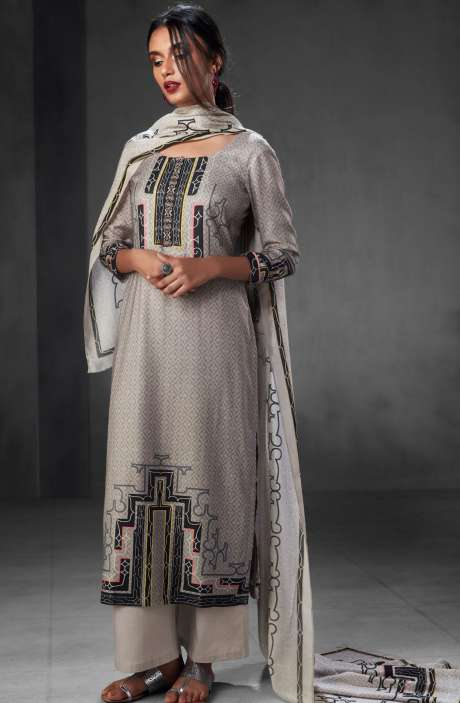 Pashmina Wool Winter Collection Digital Printed Salwar Suits In Grey - WHI6537