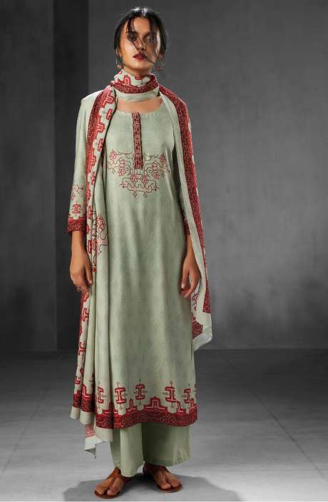 Pashmina Wool Winter Collection Digital Printed Salwar Suits In Pastel Green - WHI6543