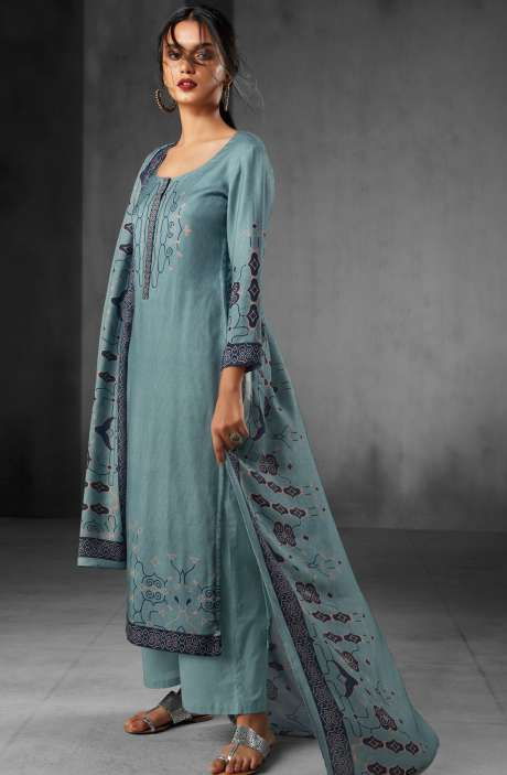 Pashmina Wool Winter Collection Digital Printed Salwar Suits In Pale Green - WHI6544