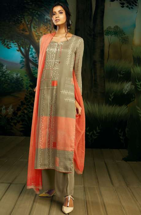 Cotton Satin Digital Printed Brown Salwar Suit with Hand Work - WIL7721