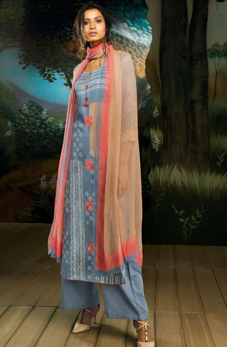 Cotton Satin Digital Printed Grey Salwar Suit with Hand Work - WIL7722