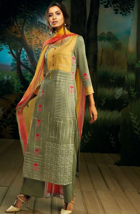 Cotton Satin Digital Printed Yellow & Mehndi Green Salwar Suit with Hand Work - WIL7724