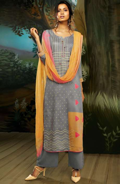 Cotton Satin Digital Printed Grey Salwar Kameez with Hand Work - WIL7725