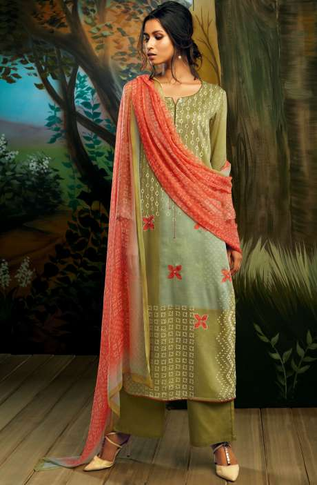 Cotton Satin Digital Printed Mehndi Green Salwar Suit with Hand Work - WIL7726