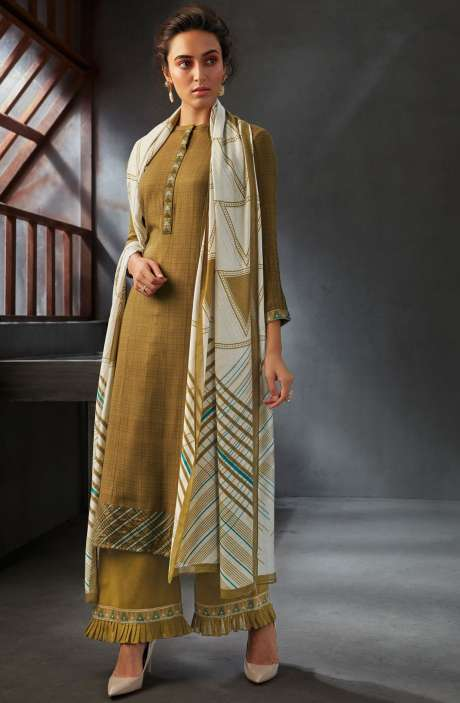 Spun Wool Winter Collection Digital Printed Salwar Kameez Sets In Mehndi - WIN6701-R