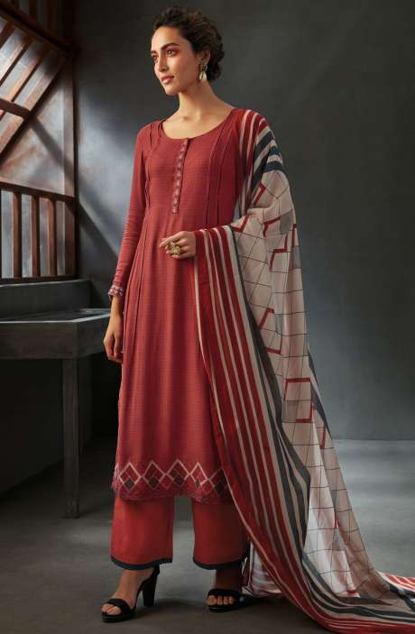 Spun Wool Winter Collection Digital Printed Salwar Kameez Sets In Red - WIN6702