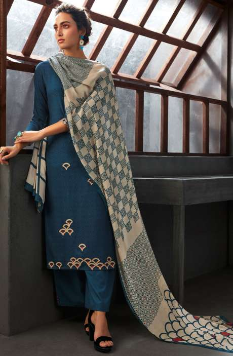 Spun Wool Winter Collection Digital Printed Salwar Kameez Sets In Blue - WIN6703-R