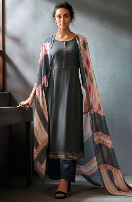 Spun Wool Winter Collection Digital Printed Salwar Kameez Sets In Grayish Black - WIN6706-R