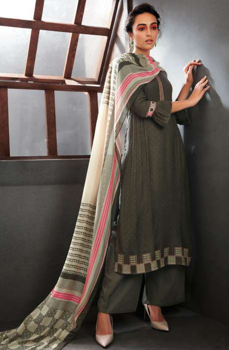 Spun Wool Winter Collection Digital Printed Salwar Kameez Sets In Olive - WIN6708-R