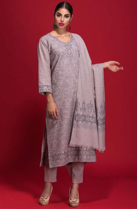 Spun Wool Winterwear Jacquard Work Salwar Kameez In Light Grayish - ZAH1851