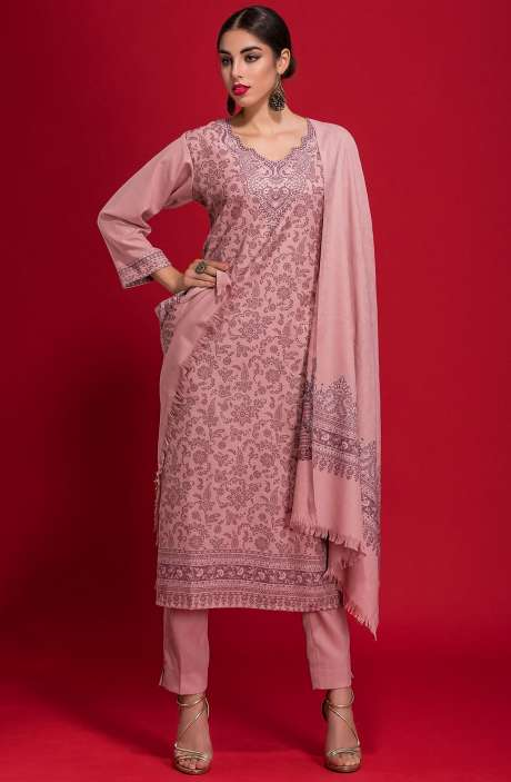 Spun Wool Winterwear Jacquard Work Salwar Kameez In Peach - ZAH1852