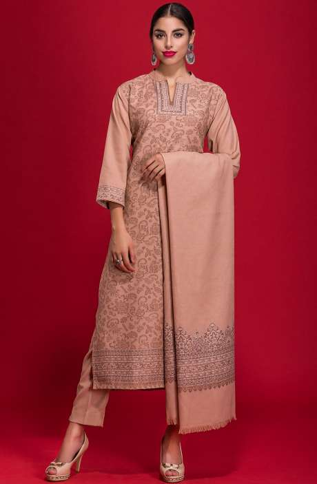 Spun Wool Winterwear Jacquard Work Salwar Suit In Peach - ZAH1854