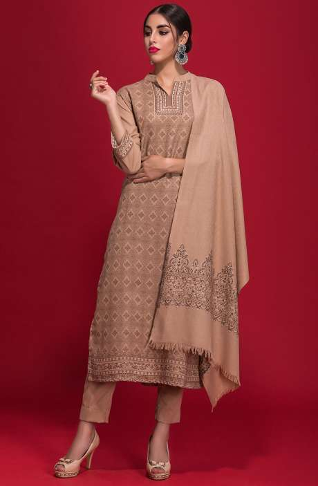 Spun Wool Winterwear Jacquard Work Salwar Kameez In Brown - ZAH1856