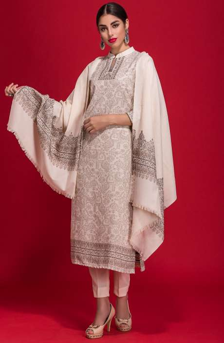 Spun Wool Winterwear Jacquard Work Salwar Kameez In Off-White - ZAH1857