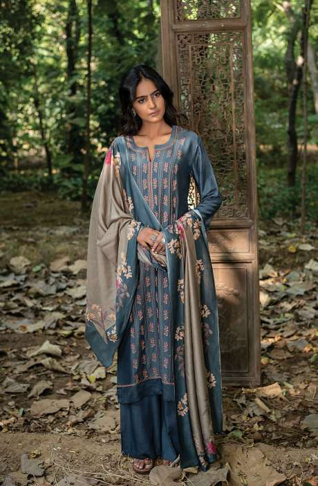 Pashmina Exclusive Embroidered Salwar Kameez In Pastel Grey with Beautiful Dupatta - ZAH8140