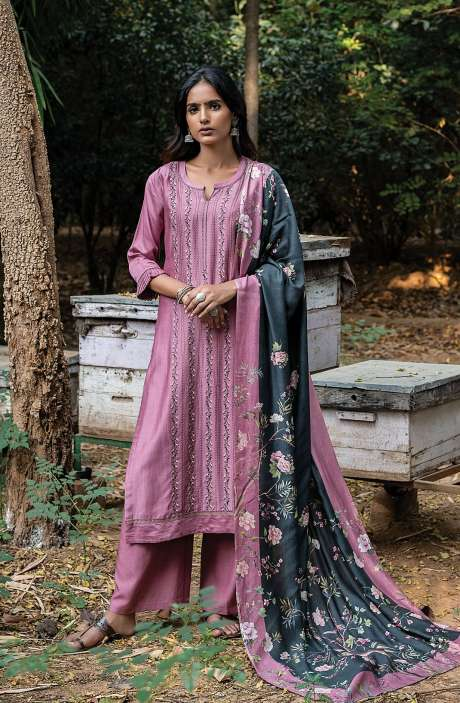 Pashmina Exclusive Embroidered Salwar Kameez In Mauve with Beautiful Dupatta - ZAH8144