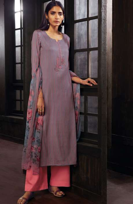Cotton Printed Stripes Unstitched Suit Sets In Pink & Grey - ZAI205