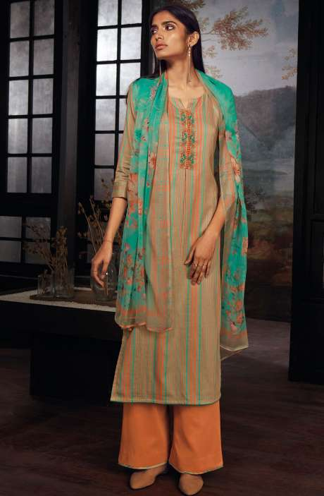Cotton Printed Stripes Unstitched Suit Sets In Orange & Green - ZAI206