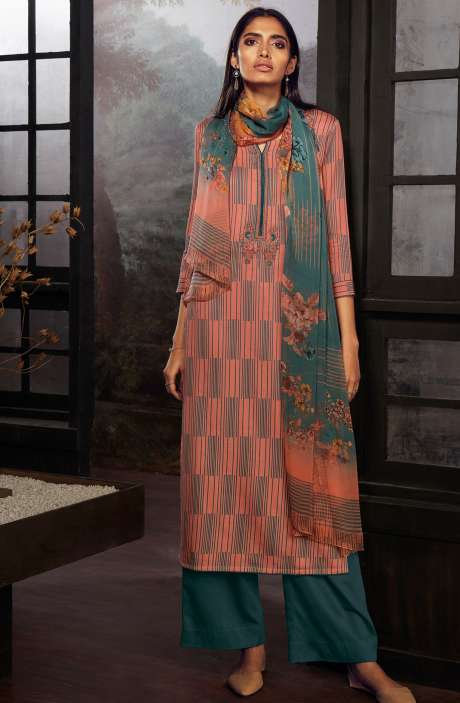 Cotton Printed Stripes Unstitched Suit Sets In Peach & Grey - ZAI207