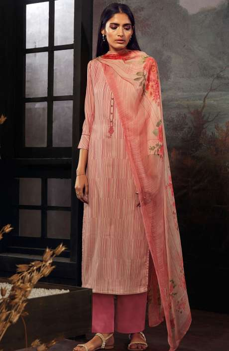Cotton Printed Stripes Unstitched Suit Sets In Beige & Pink - ZAI208