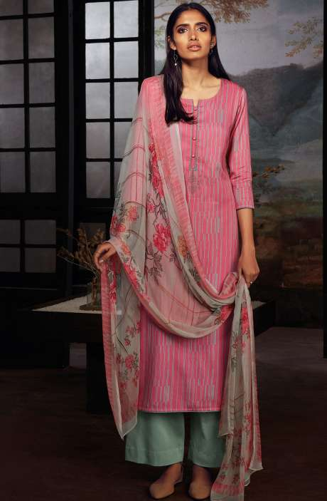 Cotton Printed Stripes Unstitched Suit Sets In Pink & Grey - ZAI209