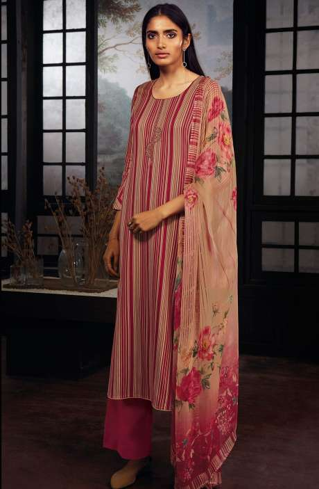 Cotton Printed Stripes Unstitched Suit Sets In Maroon & Beige - ZAI210