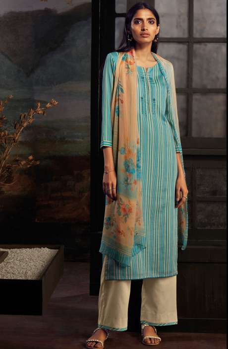 Cotton Printed Stripes Unstitched Suit Sets In Firozi & Fawn - ZAI211