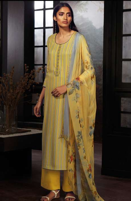 Cotton Printed Stripes Unstitched Suit Sets In Yellow & Grey - ZAI212