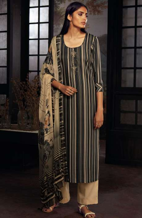 Cotton Printed Stripes Unstitched Suit Sets In Black & Beige - ZAI213