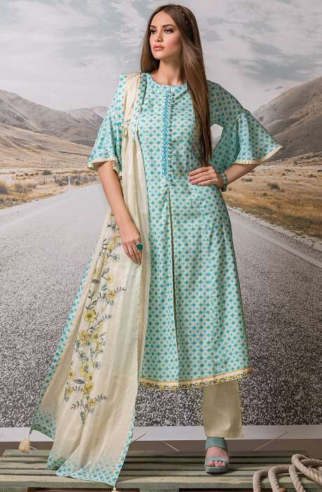 Cotton Digital Printed with Embroidery Salwar Suit Sets Fabric In Sky Blue - ZEH2640