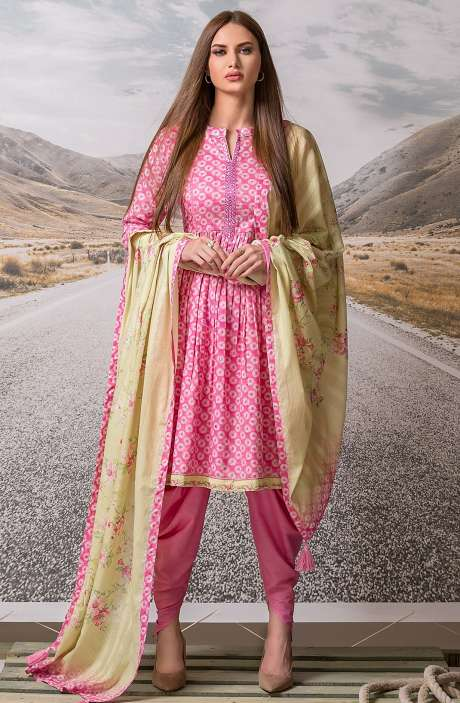Cotton Digital Printed with Embroidery Salwar Suit Sets Fabric In Pink - ZEH2641