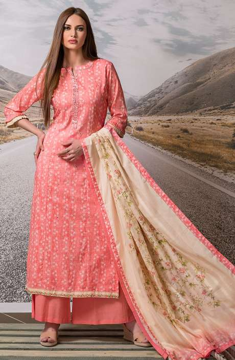 Cotton Digital Printed with Embroidery Salwar Suit Sets Fabric In Coral Red - ZEH2642