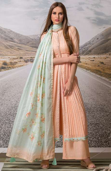Cotton Digital Printed with Embroidery Salwar Suit Sets Fabric In Peach - ZEH2643