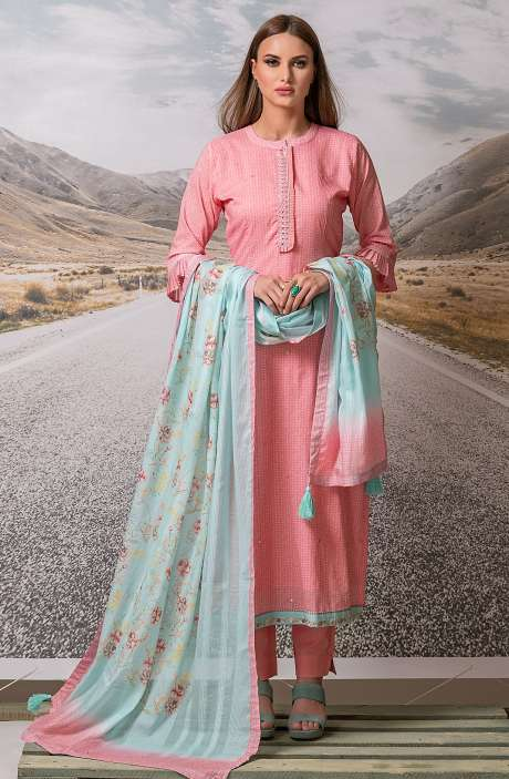 Cotton Digital Printed with Embroidery Salwar Suit Sets Fabric In Pink - ZEH2644