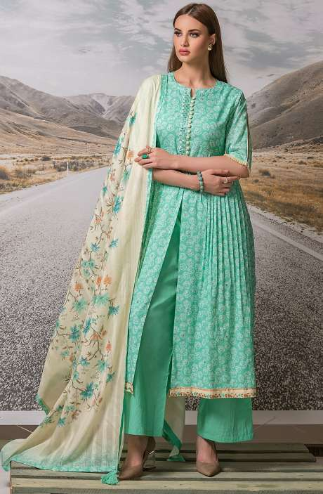 Cotton Digital Printed with Embroidery Salwar Suit Sets Fabric In Green - ZEH2645