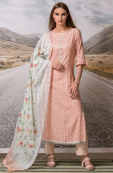 Cotton Digital Printed with Embroidery Salwar Suit Sets Fabric In Fawn & Red - ZEH2646