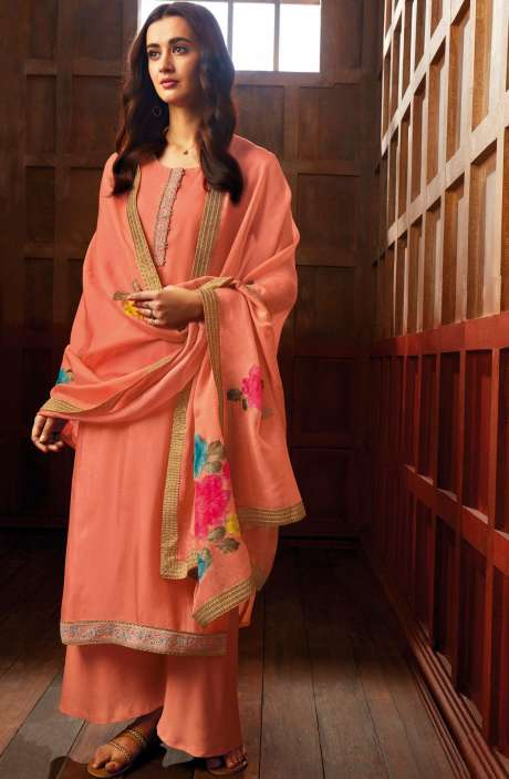 Satin Silk Designer Zari with Swarovski Work Salwar Kameez Dupatta In Peach - ZER7938