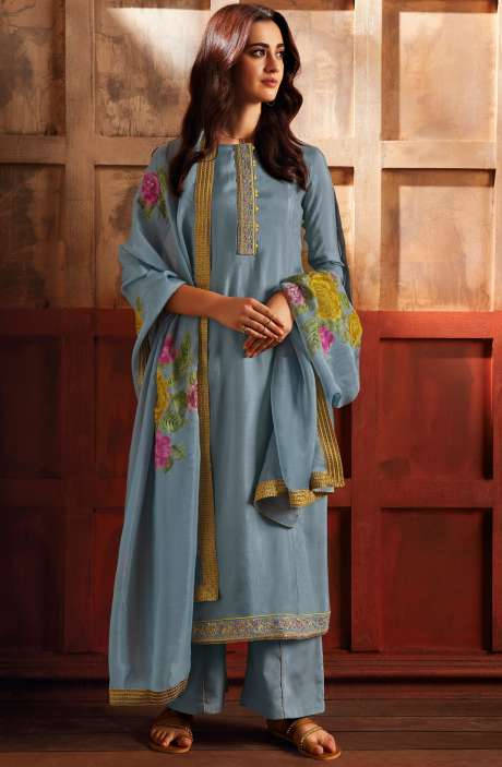 Satin Silk Designer Zari with Swarovski Work Salwar Kameez Dupatta In Grey - ZER7942