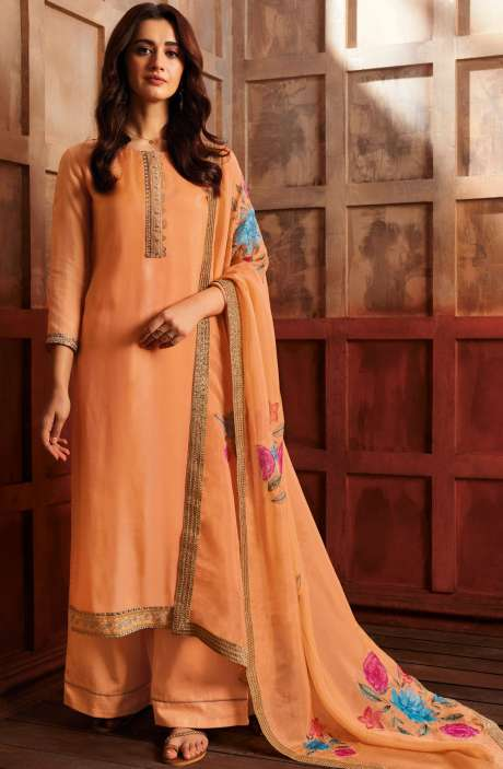 Satin Silk Designer Zari with Swarovski Work Salwar Kameez Dupatta In Orange - ZER7943