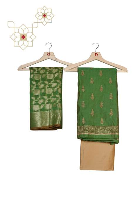 Chanderi Unstitched Salwar Suit Set in Green and Beige - ZEWCND7598A