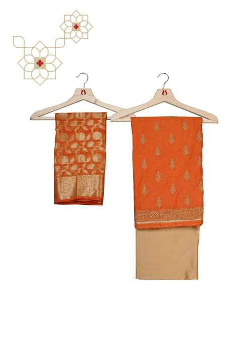 Chanderi Unstitched Salwar Suit Set in Orange and Beige - ZEWCND7598C