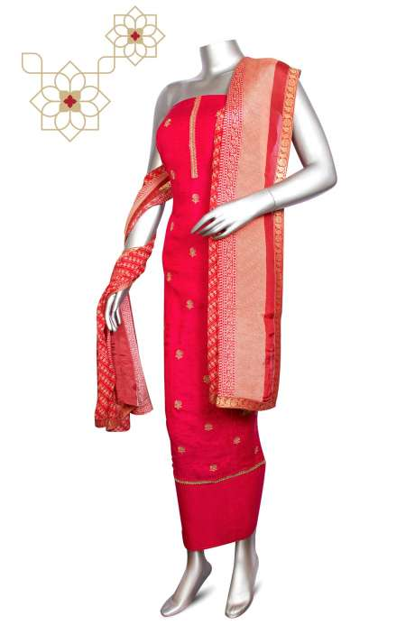Modal Silk Jacquard Festive Special Designer Suit Sets In Magenta with Chinon Dupatta - ZOE0420