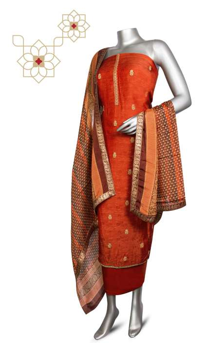 Modal Silk Jacquard Festive Special Designer Suit Sets In Rust with Chinon Dupatta - ZOE0423