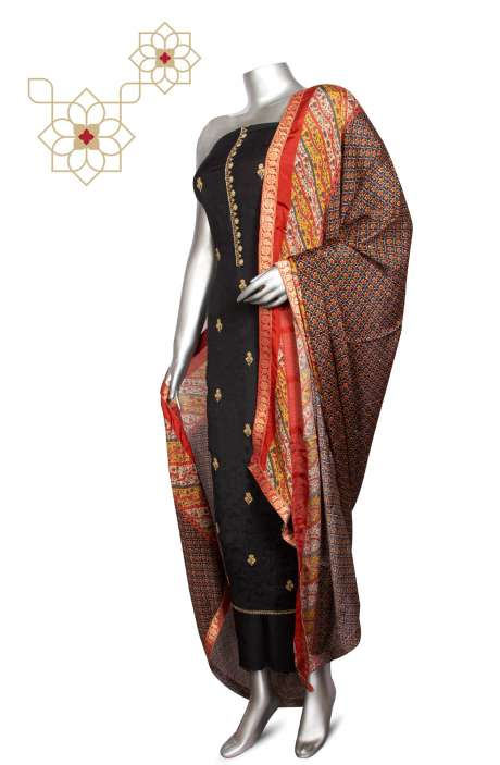 Modal Silk Jacquard Festive Special Designer Suit Sets In Black with Chinon Dupatta - ZOE0424